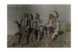 Three American Indians Pose at a Lookout in Montana