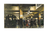 Commuters Hurry on a Crowded Subway Station Platform