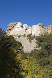 Low Angle View of Mount Rushmore on a Bright Day  from a Distance