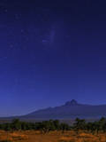Kilimanjaro's Smaller Peak  Mawenzi  by Moonlight the Small Magellanic Cloud Appears Above