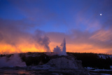Castle Geyser Erupts 60 Feet into the Air at Sunset