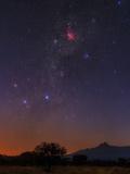 The Milky Way, Carina Nebula, Constellation Crux at Dawn over Mount Kilimanjaro and Mawenzi Peak Reproduction d'art par Babak Tafreshi