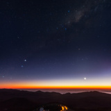 Venus  Mercury  Bright Stars Alpha and Beta Centauri  and the Milky Way over the Observatory Road