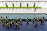 School Children Visit the Memorial Courtyard and Memorial Pool