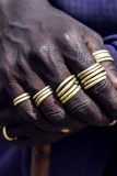 A Teenage Maasai Warrior  a Moran  with His Fingers Adorned in Gold Rings