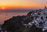 Sunset over the Aegean Sea Seen from a Cliff-Top Town on Santorini Island