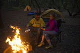 Two People Enjoy a Fire While Camping at First Landing State Park  Virginia Beach  Virginia