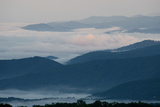 Low-Lying Clouds and Fog in the Blue Ridge Mountains  in Early Morning