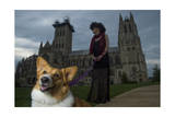 A Young Woman and a Dog in Front of the Washington National Cathedral in Washington  Dc