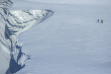 Mountaineers Climb the Cornice of a Polar Glacier