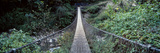The Metal Planks of a Suspension Bridge Cross Between Mountain Valley Walls in the Himalaya