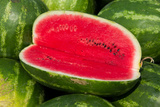 A Sliced-Open Watermelon Reveals the Bright Red Interior
