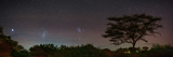Bright Star Canopus  Large and Small Magellanic Clouds  Red and Green Airglow over Acacia Trees