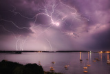 Lightning Strikes Off the Coast of Portland  Maine