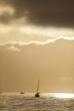 Sunlight Reflects from the Water Near Anchored Boats in Santa Barbara
