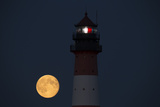 The Full Moon Rising at the Lighthouse in Westerhever