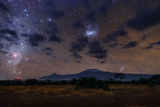 The Southern Milky Way and Magellanic Clouds over Kilimanjaro the Red Cloud Is the Carina Nebula