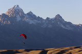 A Paraglider Soars Above Grand Teton National Park
