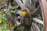 Close Up of a Decaying Old Wagon Wheel