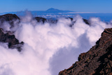 Clouds at the Edge of Caldera De La Taburiente Teide Volcano on Tenerife Island Is on the Horizon