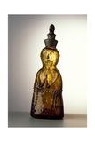 Amber-Colored Bottle in Metal Mold-Blown Glass with Relief Decoration
