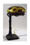 Double Glass and Bronze Lamp  Ca 1900