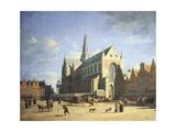 Haarlem  View of the Groote Market with the Grote Kerk
