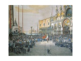 The Tricolour Flying over San Marco Piazza in Venice  1848