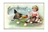 Präge Litho Glückwunsch Ostern  Kind  Hase  Henne  Eier