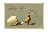 Präge Glückwunsch Ostern  Geschlüpftes Küken  Schale