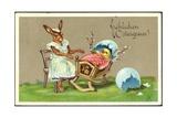 Präge Glückwunsch Ostern  Hase Schaukelt Küken