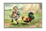 Präge Litho Glückwunsch Ostern  Ein Hahn Zwickt Kind