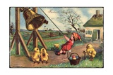 Glückwunsch Ostern  Junge Läutet Glocke  Küken  Eier