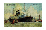 Künstler Red Star Line  SS Arabic Near a City