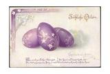 Litho Glückwunsch Ostern Lila Bemalte Ostereier Gedicht