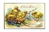 Präge Glückwunsch Ostern  Küken  Korb  Zweige