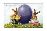 Glückwunsch Ostern  Hasenpärchen Mit Osterei