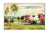 Künstler Glückwunsch Pfingsten  Blumenwiese  Bäume