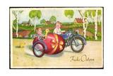 Glückwunsch Ostern  Pärchen Fährt in Einem Motorrad