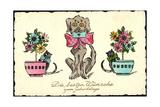 Glückwunsch Geburtstag  Hund Mit Brief  Katzen  Blumen