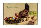 Glückwunsch Ostern  Henne Mit Küken  Ostereier