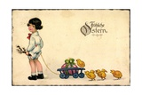 Glückwunsch Ostern  Mädchen  Weidenkätzchen  Küken