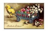 Glückwunsch Ostern  Küken Zieht Wagen Mit Ostereiern