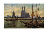 Künstler Rüdell  K  Köln Rhein  Blick Zum Dom Boote