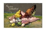 Präge Glückwunsch Ostern  Küken Mit Eiern  Henne