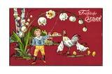 Präge Glückwunsch Ostern  Maiglöckchen  Henne  Küken