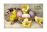 Glückwunsch Ostern  Ostereier  Küken  Blumen