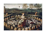St Genevieve Guarding Sheep with Paris in Background 16th Century