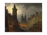 Czech Republic  Prague  Painting of Old Town Square at Night