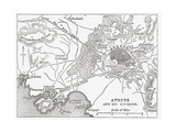 Map of Athens and Piraeus  Greece  Mid 19th Century from the Imperial Bible Dictionary